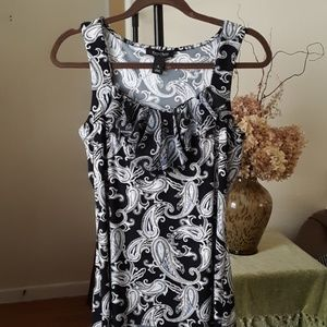 WHBM Paisley knit tank with Ruffle trim